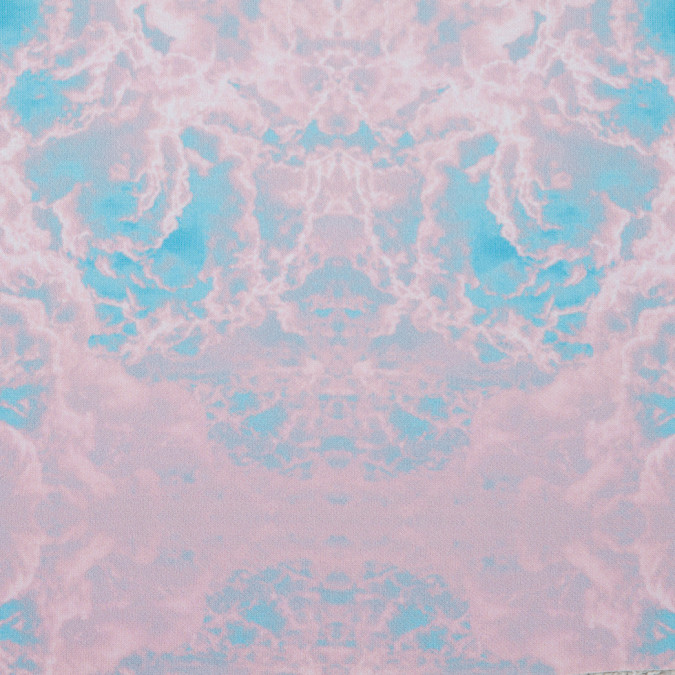 pink blue abstract clouds digitally printed stretch neoprene scuba knit 310353 11
