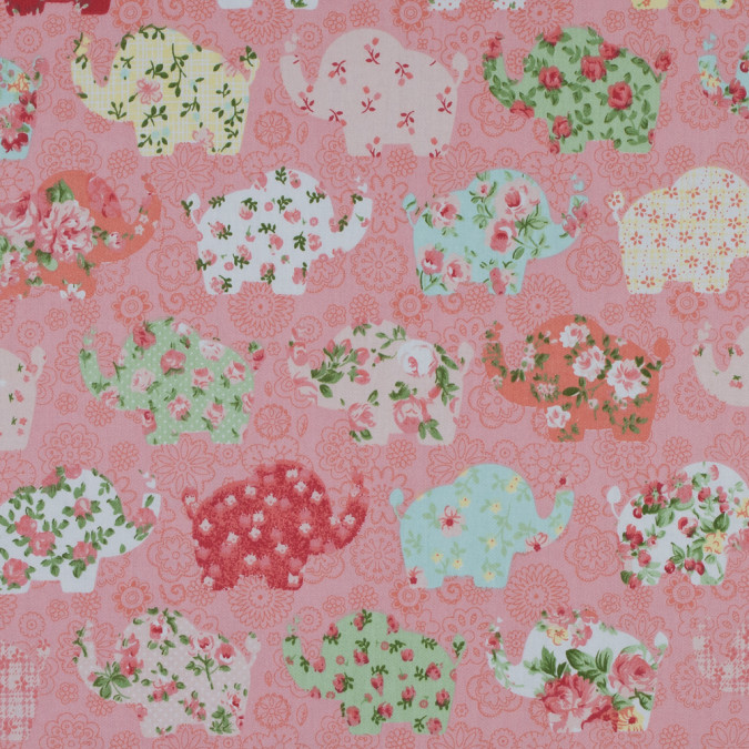 pink floral elephants printed on a cotton twill 310789 11