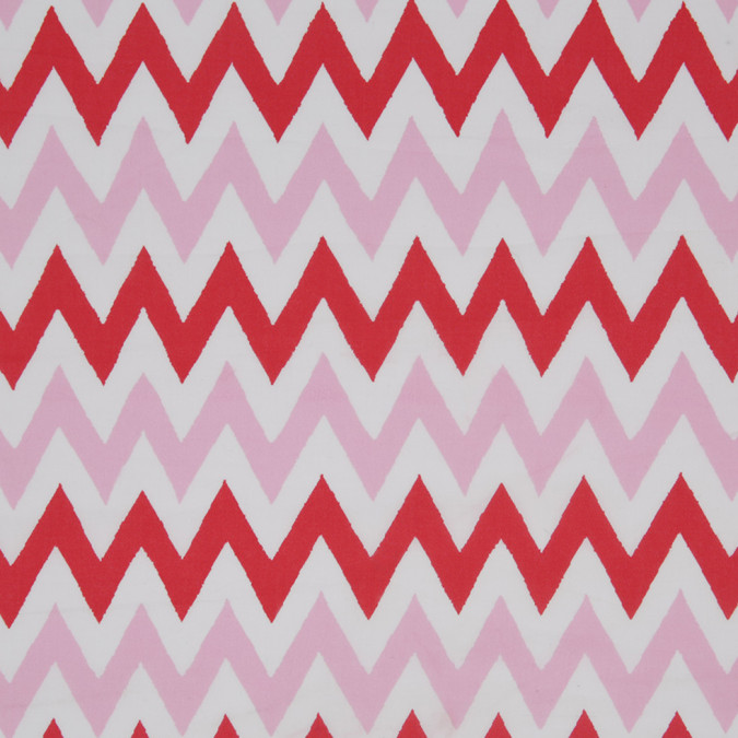 pink red white zig zag printed cotton poplin 307073 11