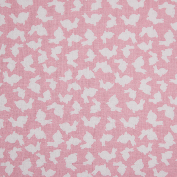 pink white bunny rabbit printed combed cotton voile 113867 11