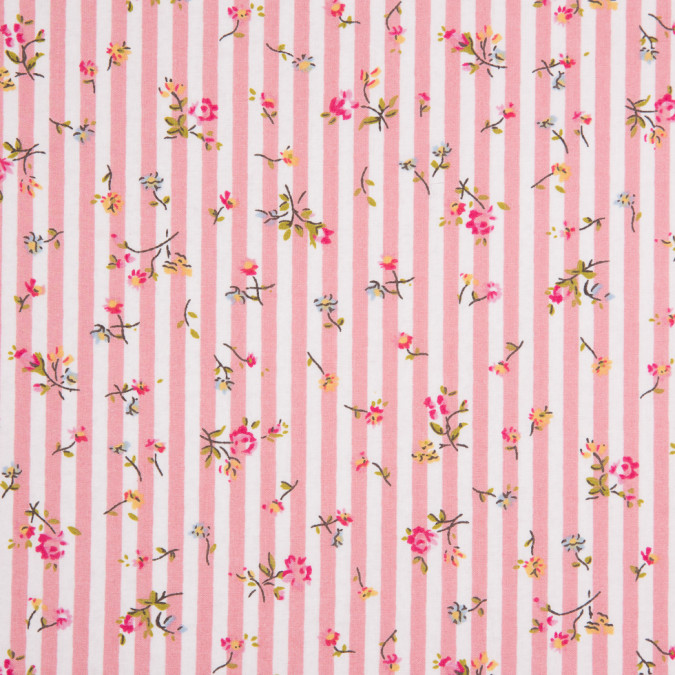 pink white striped floral dense combed cotton poplin 113819 11