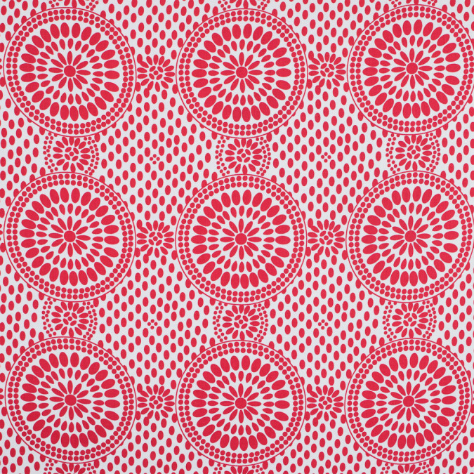 poppy red and snow white medallion printed cotton sateen 113747 11