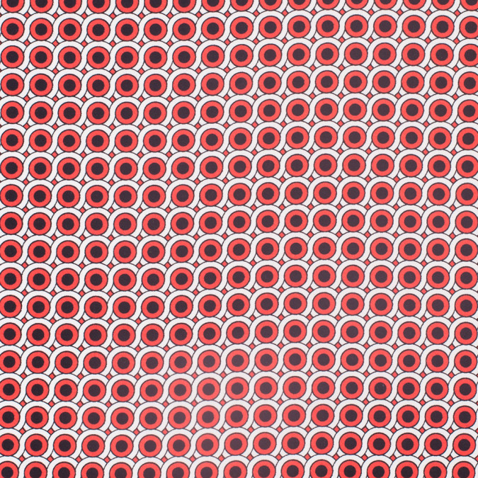 poppy red geometric stretch cotton woven 308096 11
