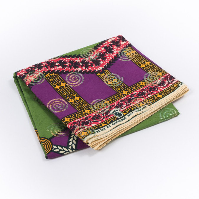 purple and green waxed cotton african print with inlaid pattern and metallic ombre spiral foil 319552 11