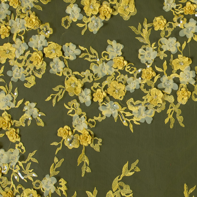 radiant yellow 3d floral embroidered tulle with beads and sequins 117639 11