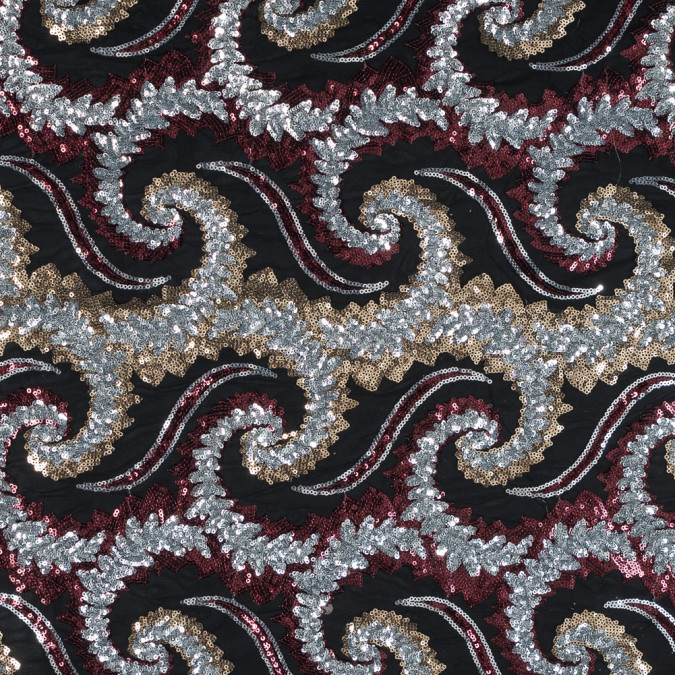 red silver and gold paisley sequined netting in black 317190 11