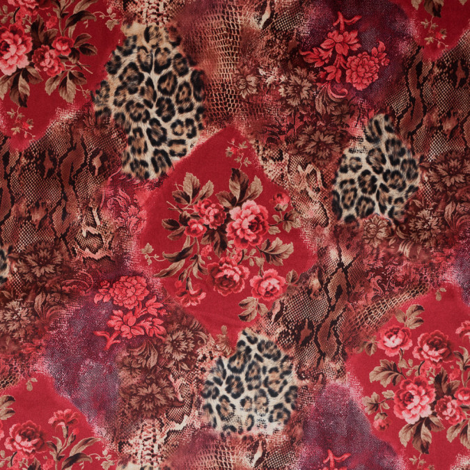 red and beige animal and floral printed velour 314996 11