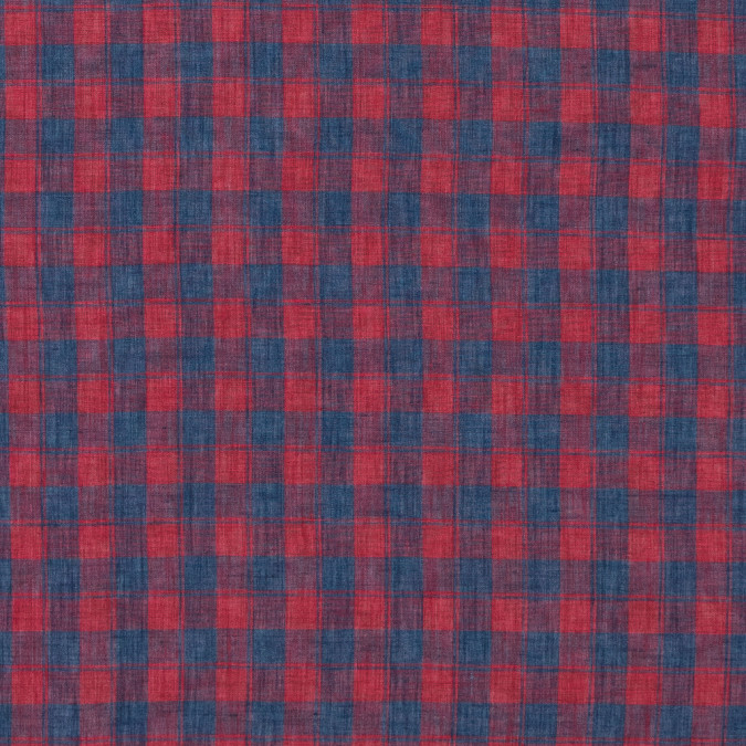 red and blue plaid sheer linen woven 316845 11