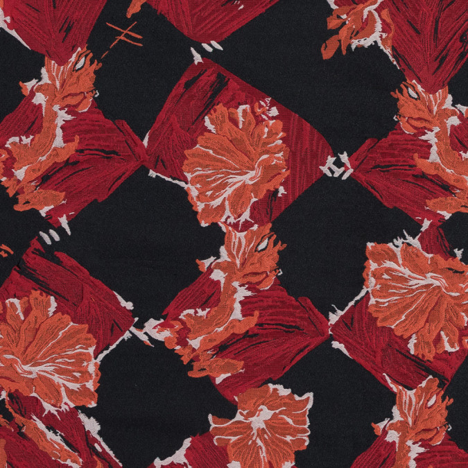 red and orange painterly floral brocade 317790 11