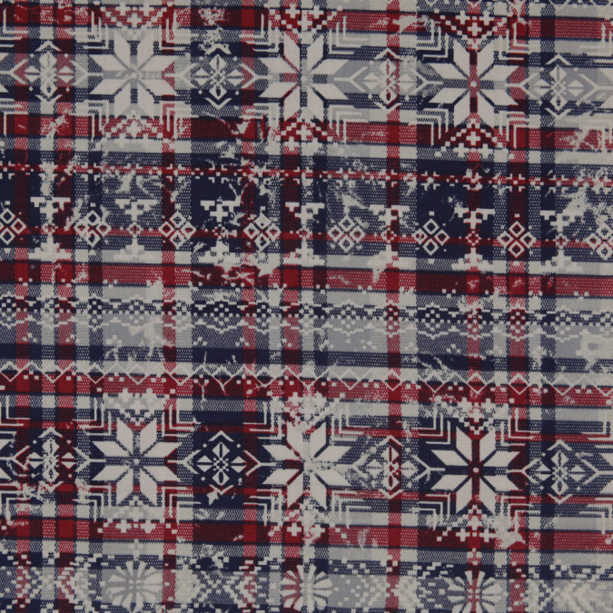 red blue gray snowflake printed plaid stretch cotton twill 307109 11