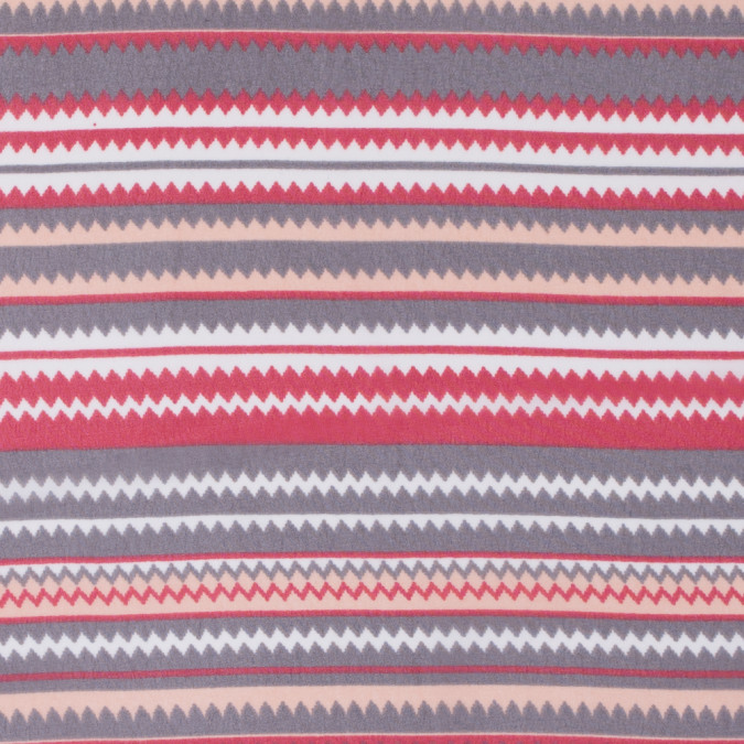 red peach gray striped zig zags printed on a polyester chiffon 311765 11