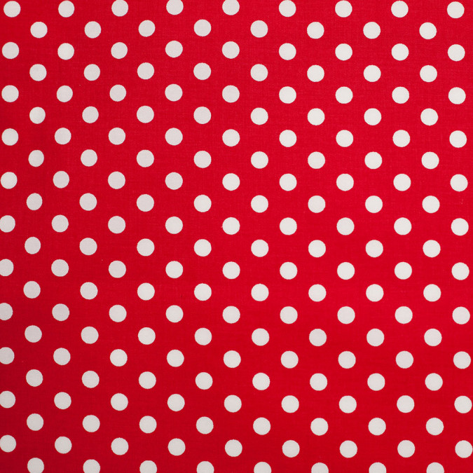 red white polka dotted stretch cotton twill 306364 11