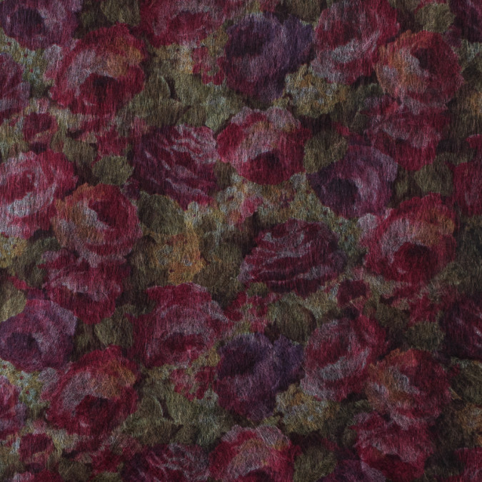 rose red floral printed non fusible interfacing 314196 11