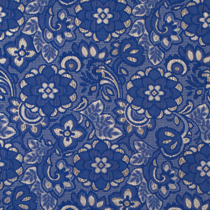 royal blue and metallic gold floral brocade 315787 11