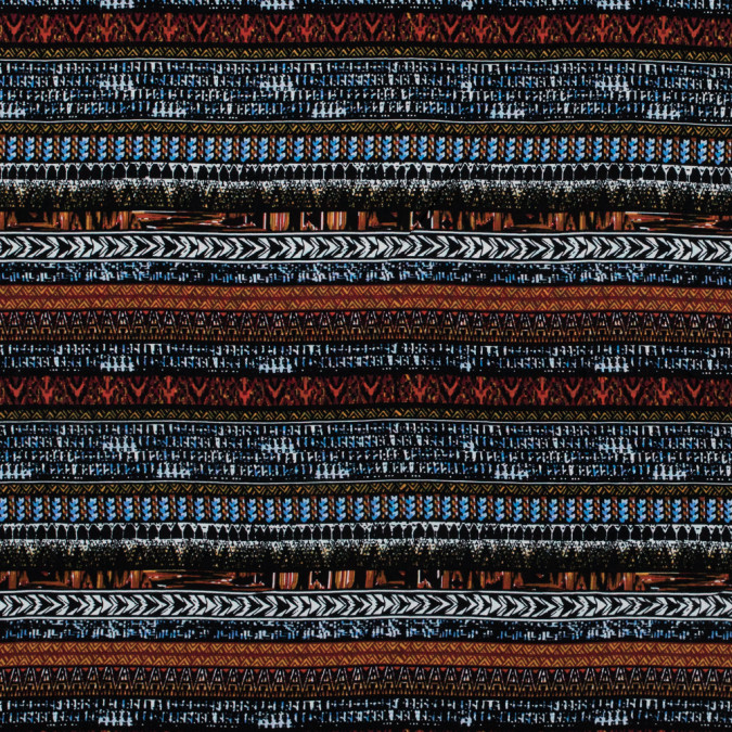 rust and blue tribal printed rayon challis 316026 11