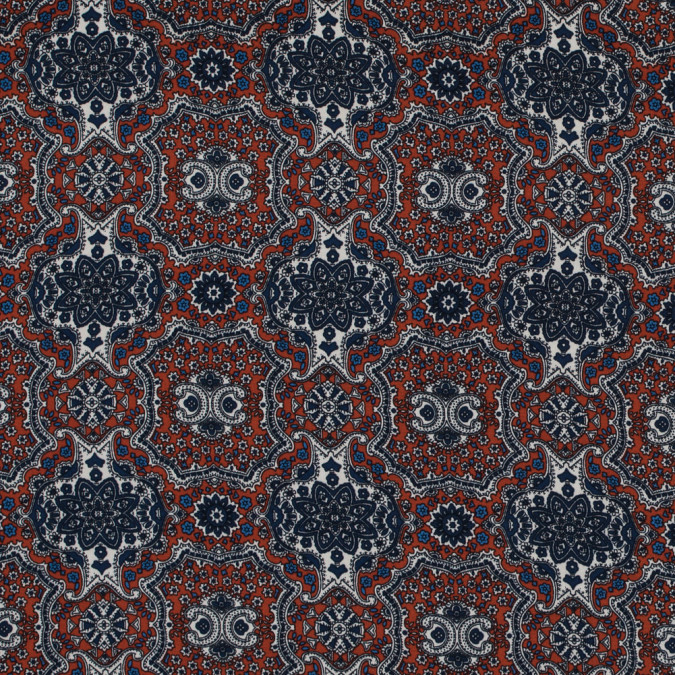 rust and ensign blue mandala floral polyester print 313483 11