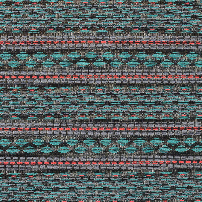 sea green and flourescent pink tribal jacquard 311134 11