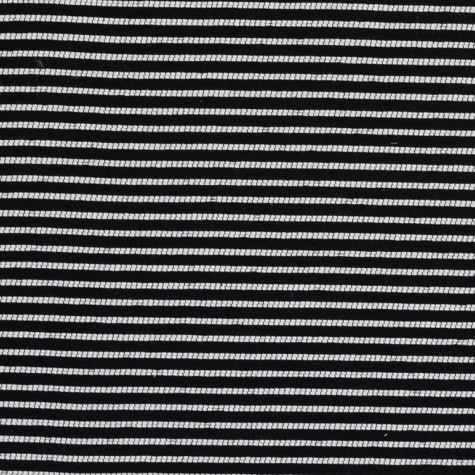 sea ny black and white striped cotton woven with black fused backing 317994 11