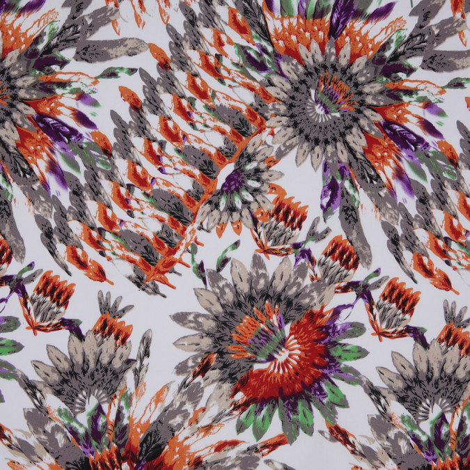 taupe orange feather printed stretch cotton twill 307108 11