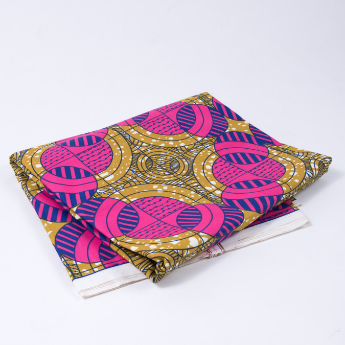 tawny olive and honeysuckle geometric waxed cotton african print 312687 11