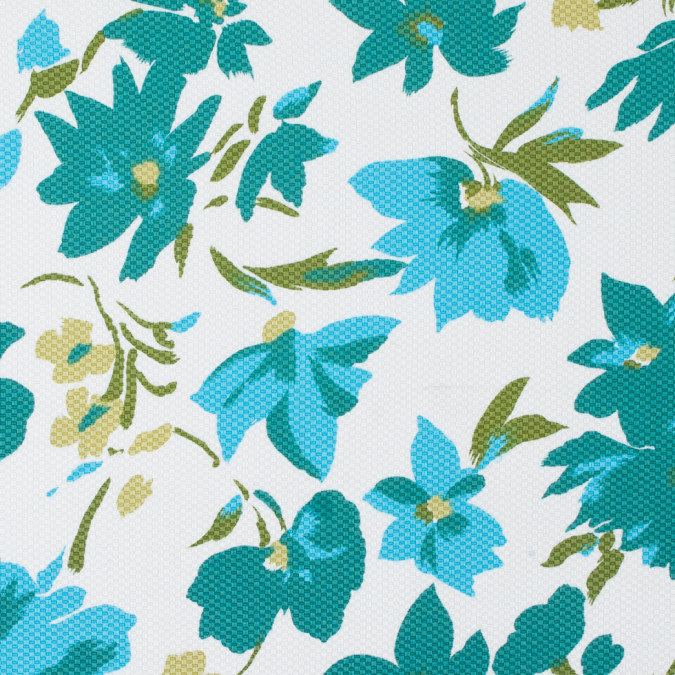teal cyan blue white floral printed riviera pique 310951 11