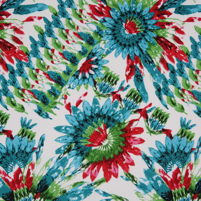 teal green red feather printed stretch cotton twill 307111 11