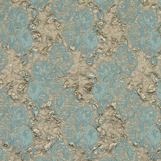 tiffany blue and metallic gold rose brocade 118963 11