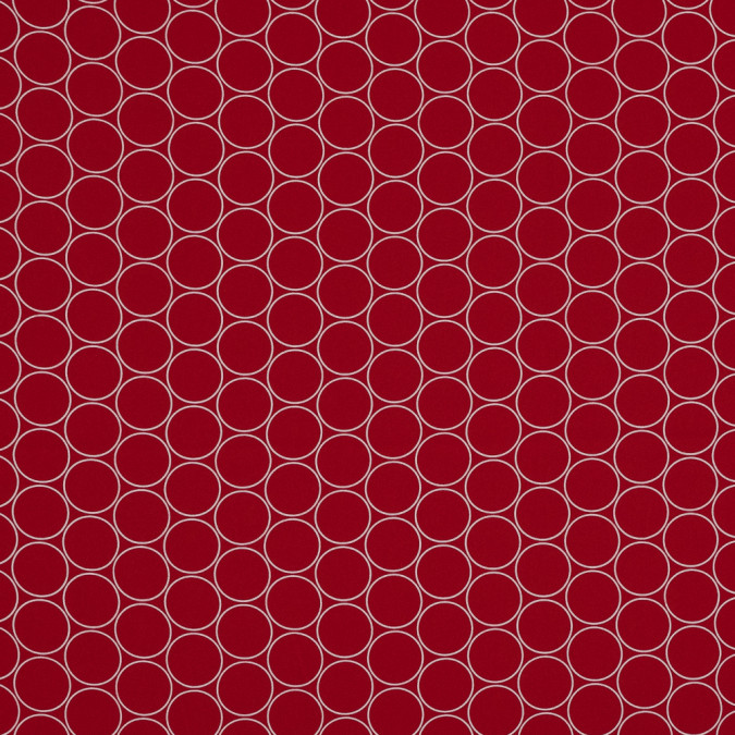 tomato red and white circle printed stretch polyester crepe 319652 11