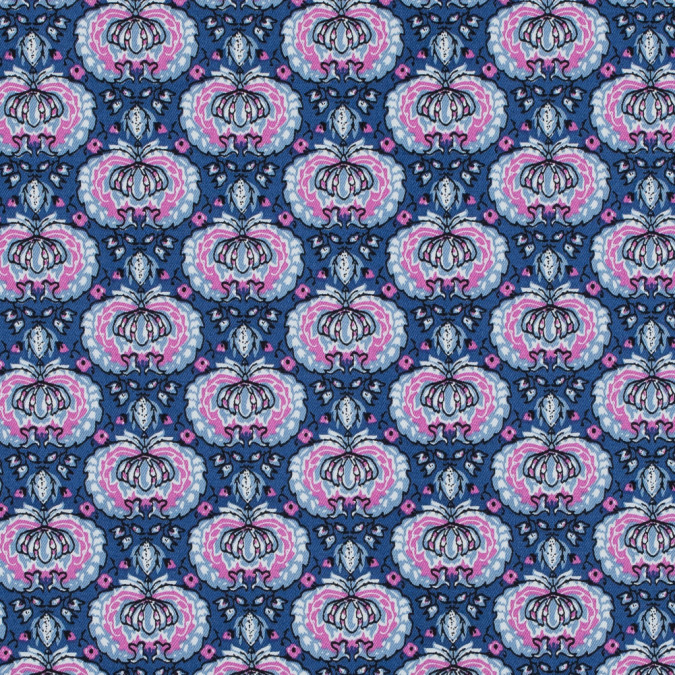 true blue and phlox pink palmette printed stretch cotton twill 314640 11