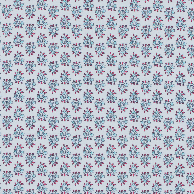 white and river blue floral printed stretch cotton poplin 117309 11