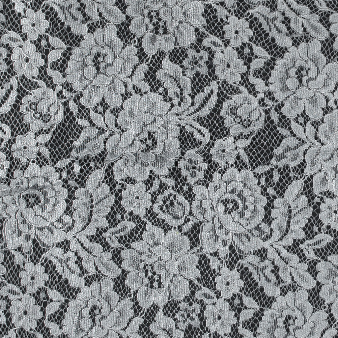 white floral lace with all over silver foil 317511 11