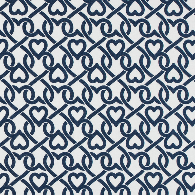 white navy chain linked hearts printed on a stretch cotton poplin 114147 11