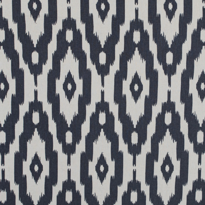 whitecap gray and nightshadow blue ikat printed cotton poplin 314855 11