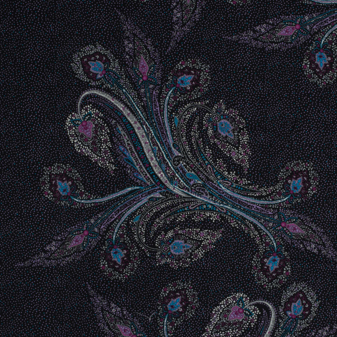 wineberry and black floral paisley printed silk chiffon 315767 11