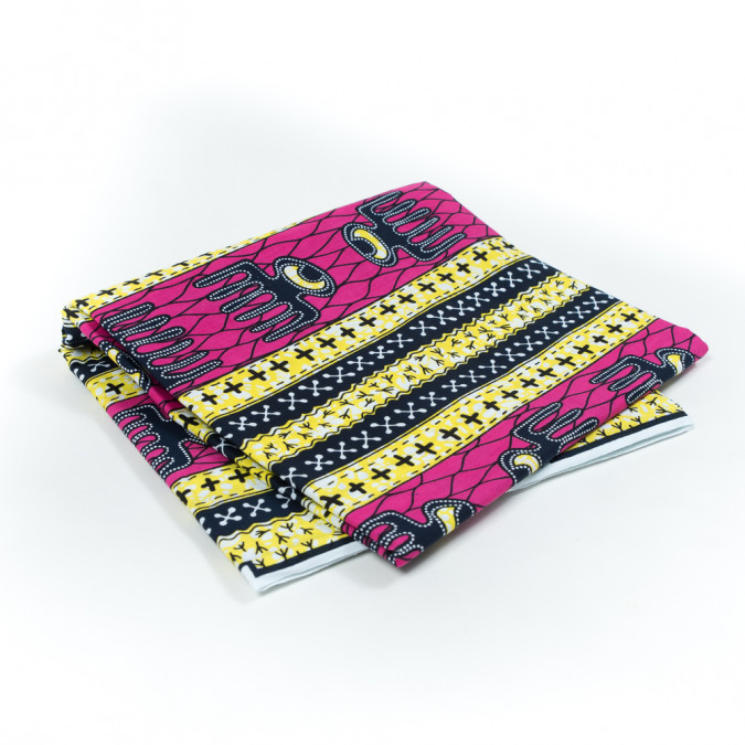 yellow and fuchsia waxed cotton african print 317769 11