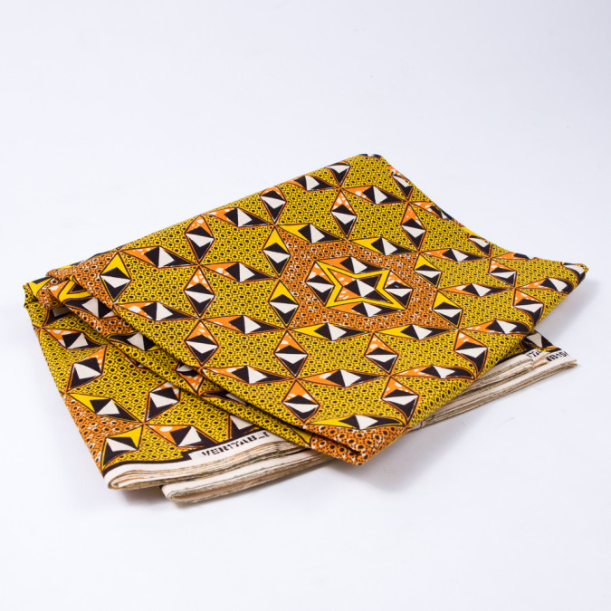 yellow and orange geometric waxed cotton african print 312718 11