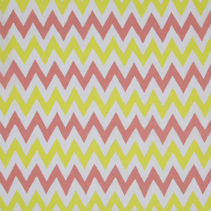 yellow coral white zig zag printed cotton poplin 307072 11