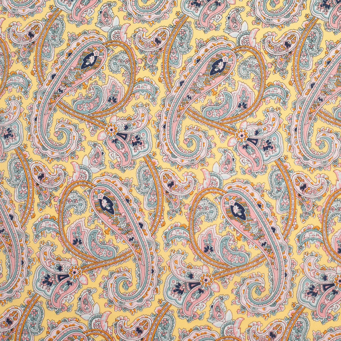 yellow paisley printed cotton voile 306454 11
